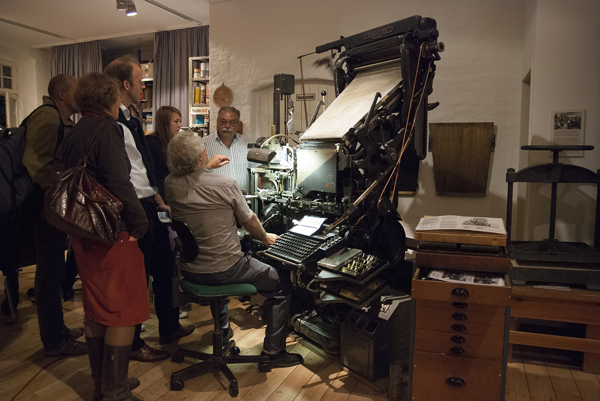 Demonstration of the Linotype in the Museum Printshop